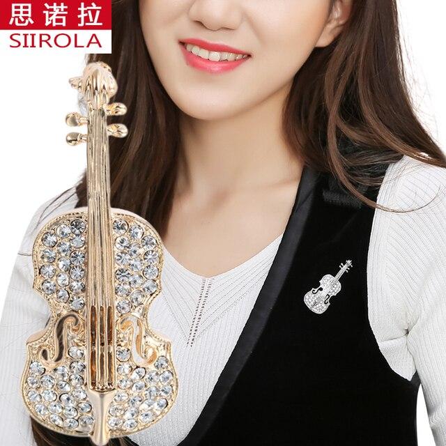 47aea7dfa62 SIIROLA Vogue Romantic Alloy Gold silver-color Women Brooch Rhinestone Musical  Instrument Violin Hijab Lapel pins Free shipping