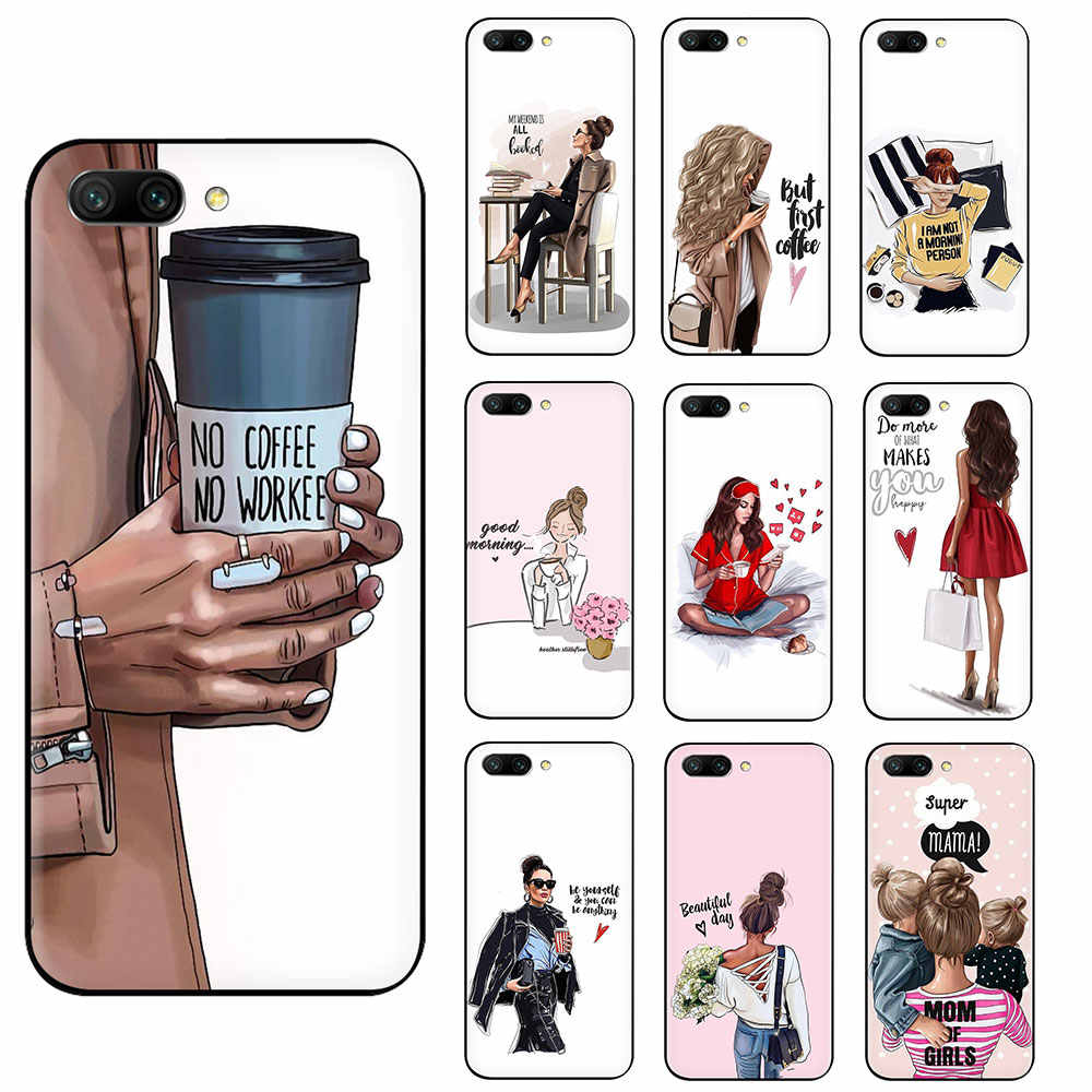 Queen Princess Girl Female boss coffee Soft TPU Silicone phone case for Huawei Honor 6A 7A Pro 7C 7X 8X 8C 8 9 10 Lite