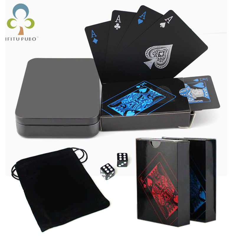 One Deck Poker Waterproof Plastic PVC Playing Cards Set Black Color Poker Card Sets Classic Magic Tricks Tool Poker Games GYH
