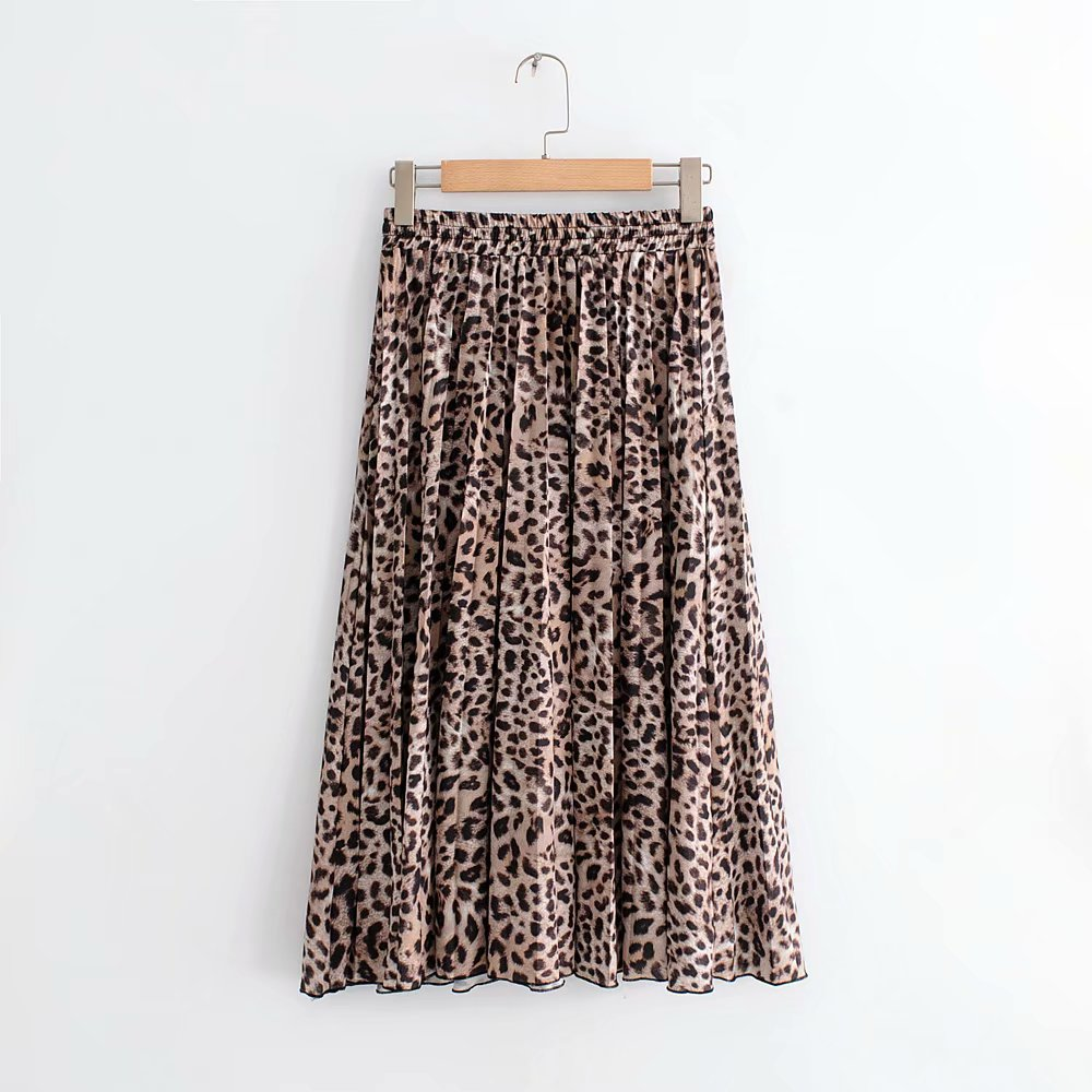 2019 New Women Faldas Mujer Ladies Elastic Waist Sashes Chic Mid calf Skirts Vintage Leopard Printing Pleated Midi Skirt in Skirts from Women 39 s Clothing