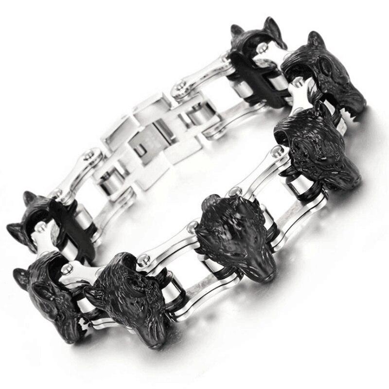 2018 hommes bijoux en acier inoxydable 316L tête de loup Bracelet chaîne de vélo bracelets porte-bonheur cadeau de fête Europe et amérique offre spéciale