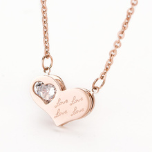 Fashion 316L Stainless Steel Heart Pendants Crystal Necklaces For Women Love Accessories 2 Colors