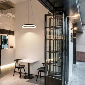 Image 3 - Weiß/Schwarz Moderne LED Anhänger Lichter Für Esszimmer Wohnzimmer lamparas colgantes pendientes Hängen Lampe suspension leuchte