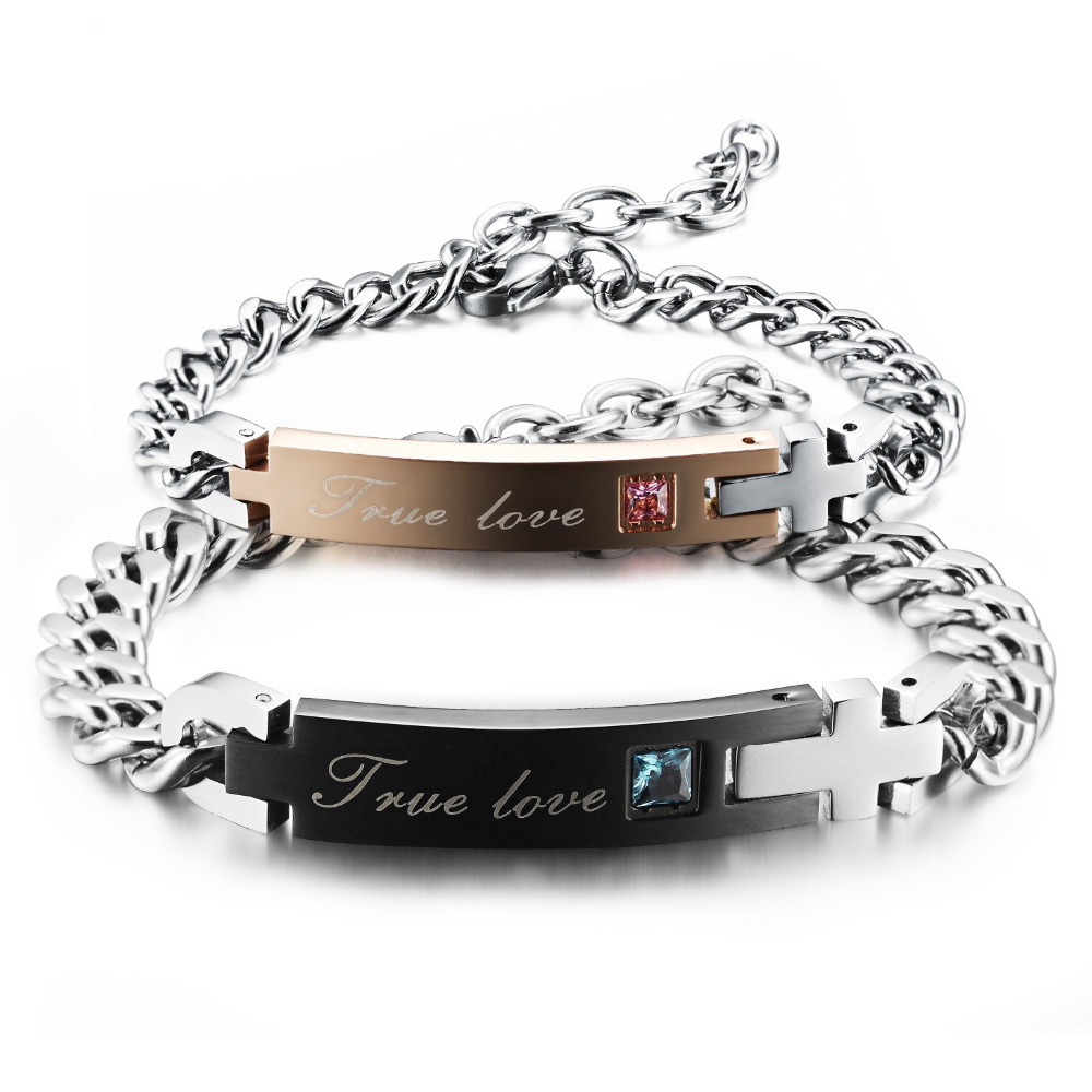 Stainless Steel True Love Couple Bracelet & Bangle with Blue / Pink Crystal Chain