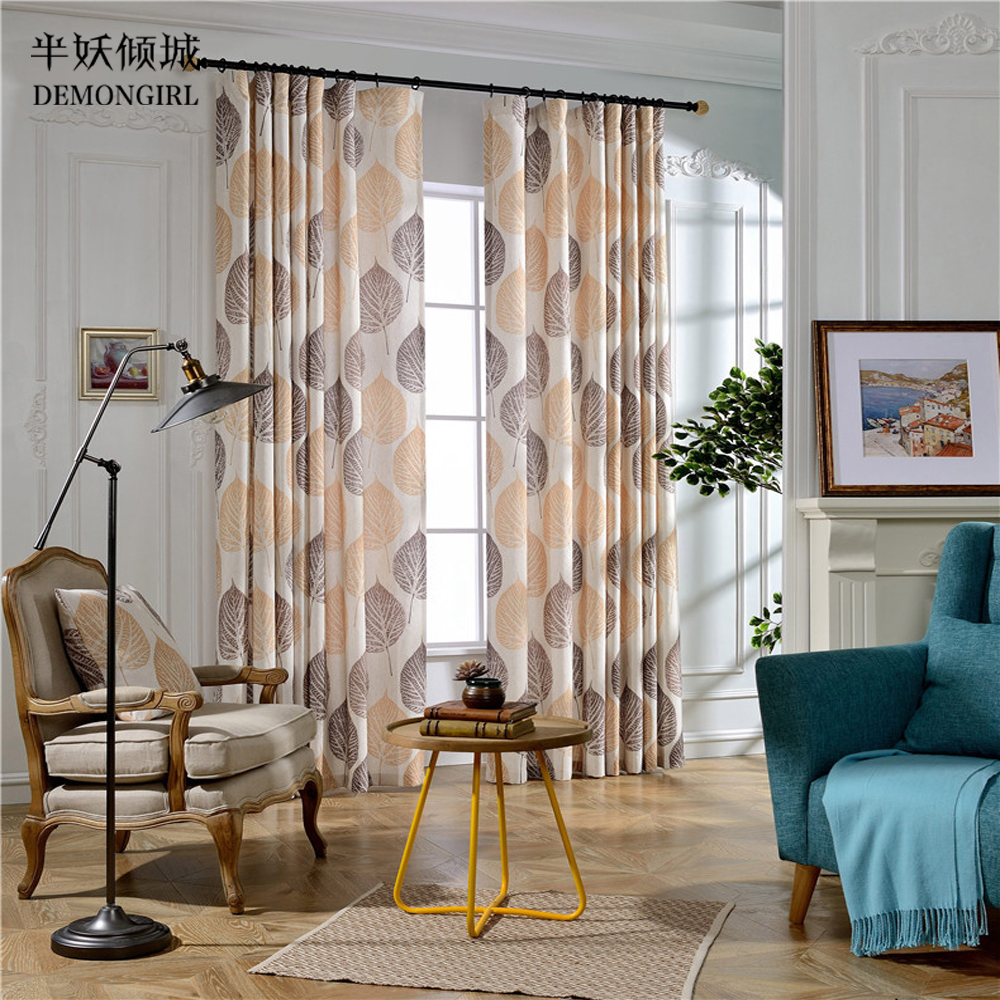 Printed curtains living room - Demongirl Home Textiles 40 70 Blackout Modern Jacquard Leaves Printed Curtains For Living