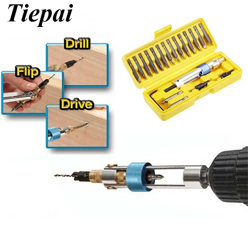 Tiepai Hot Sale Newest Drill 20 bits High Speed Steel Double Use Hand Tools Set Screwdriver Bit for Electrical Power Drill On TV