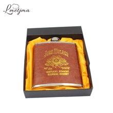 Luxus 18 unze Edelstahl Russian Whisky Flachmann Leder Personalisierte Flask für Alkohol mit Box als Geschenk Reise Trinken K0042