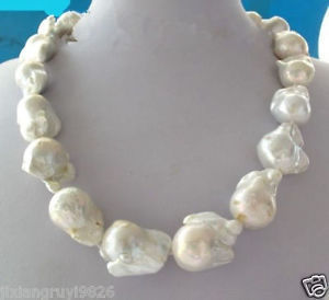 Free shipping@@@@@ Large 23- 26mm White Unusual Baroque Pearl Necklace disc Clasp 18