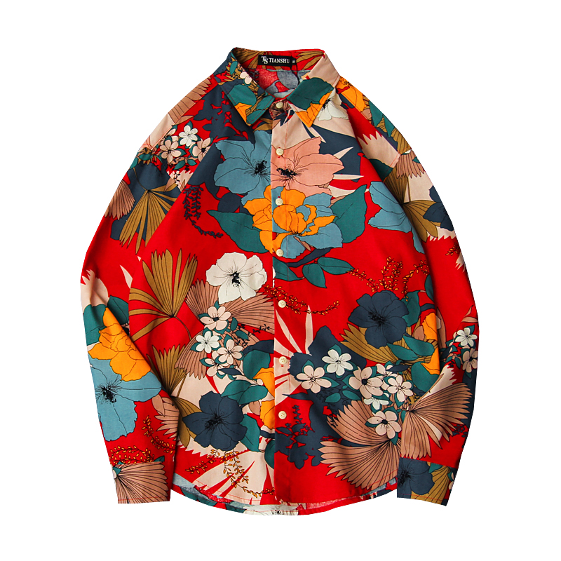 Men 2019 Spring And Autumn Fashion Brand Korea Style Flower Patchwork Print Long Sleeve Shirt Male Casual Hawaiian Beach Shirts