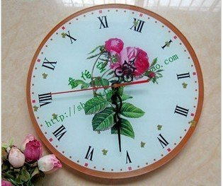 Free Shipping Wholesale & Retail European garden style retro clock Rose glass single-sided  wall clock