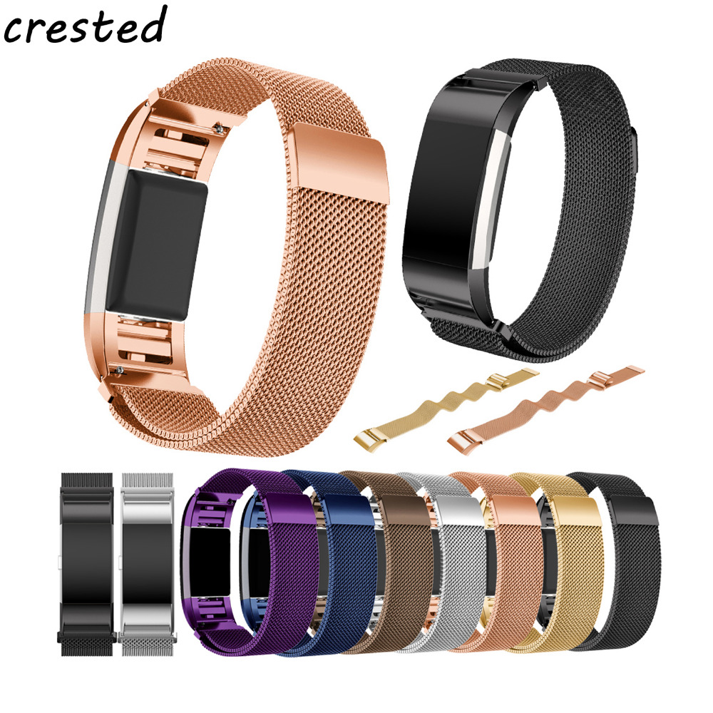 цена CRESTED Luxury Magnetic Milanese Loop Wrist strap & Link Bracelet Stainless Steel Band Adjustable Closure for Fitbit Charge 2
