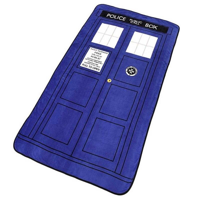 127*226 cm Doctor Who Cosplay mantas Tardis Coral polar alfombra de Cosplay policía caja manta sábana azul