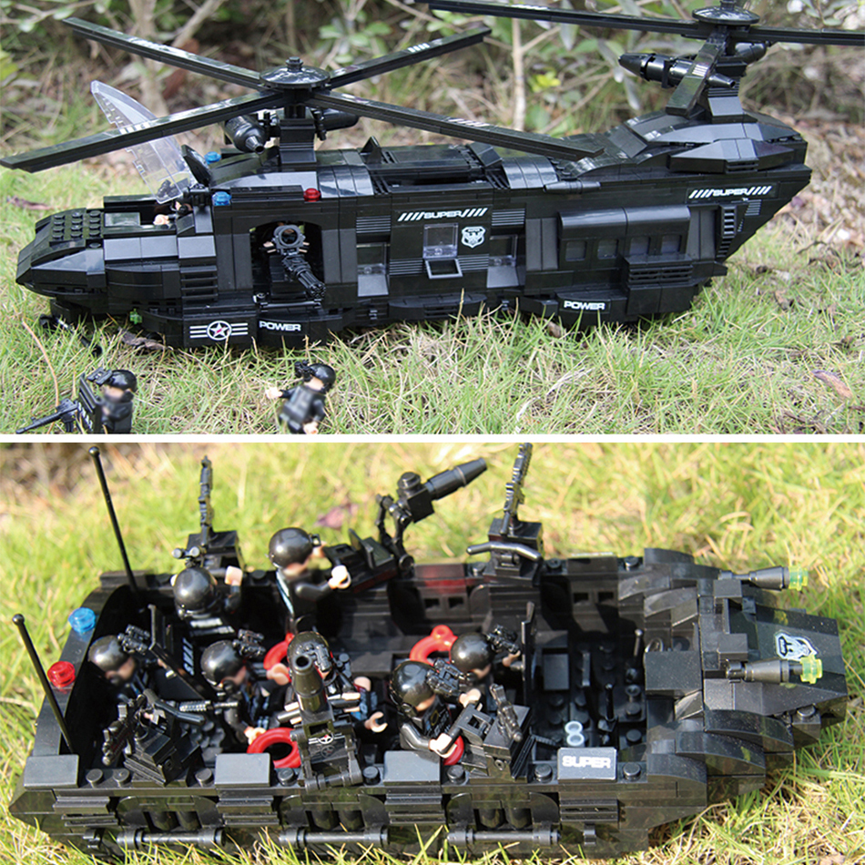 1351pcs Large Legoings Model Building Blocks Kits SWAT Team Transport Helicopter SWAT City Police Toys for Children Kids Gift