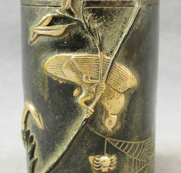 Scy s0114民俗中国ブロンズ銅金箔ラッキー鳥像クモブラシポット鉛筆花瓶