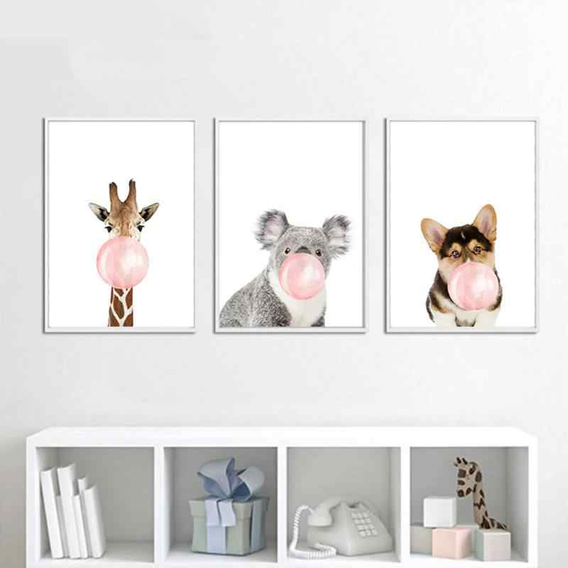 Frameless Poster Wall Art Decor Cute Animal HD Print Waterproof Canvas Painting Nurseryroom Pictures By Numbers