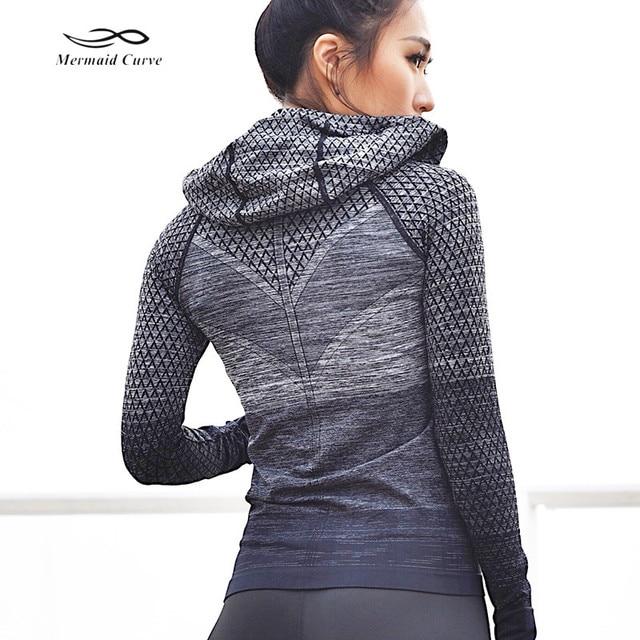 Mermaid Curve Front Zipper hooded Womens Yoga Shirts Long Sleeve Yoga Top Sportswear Quick Dry  Tracksuit Women Running Jacket
