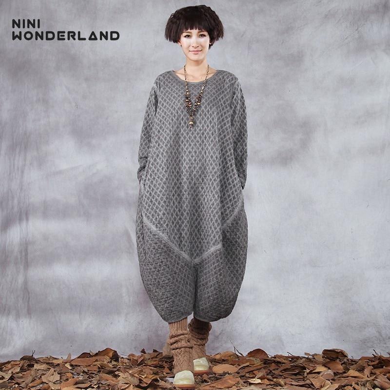 NINI WONDERLAND 2019 Autumn Winter Dress Women Do Old Cotton Solid Plaid Thick Warm Lantern Dress