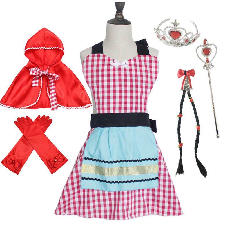 Anime Cosplay Little Red Riding Hood Costume Apron Cape Tiara Wand Glove Braid for Girl Dress Up Halloween Party Dress
