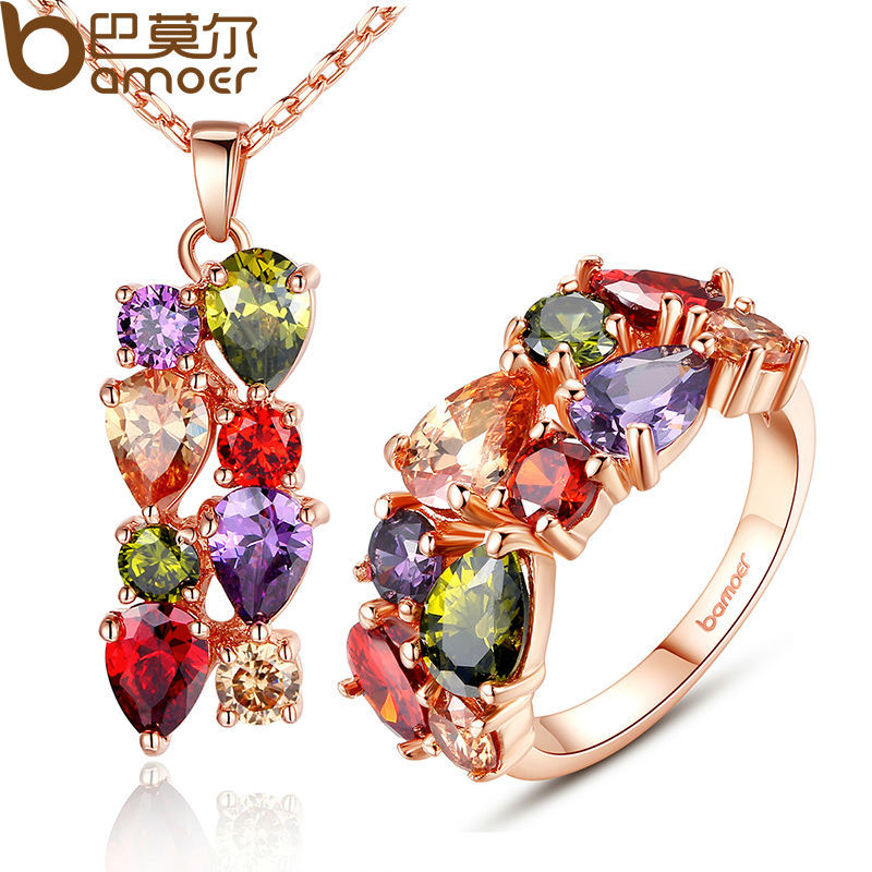 BAMOER New Gold Color Mona Lisa Jewelry Sets amp More with Multicolor AAA Cubic Zircon for Women Anniversary Bridal Sets