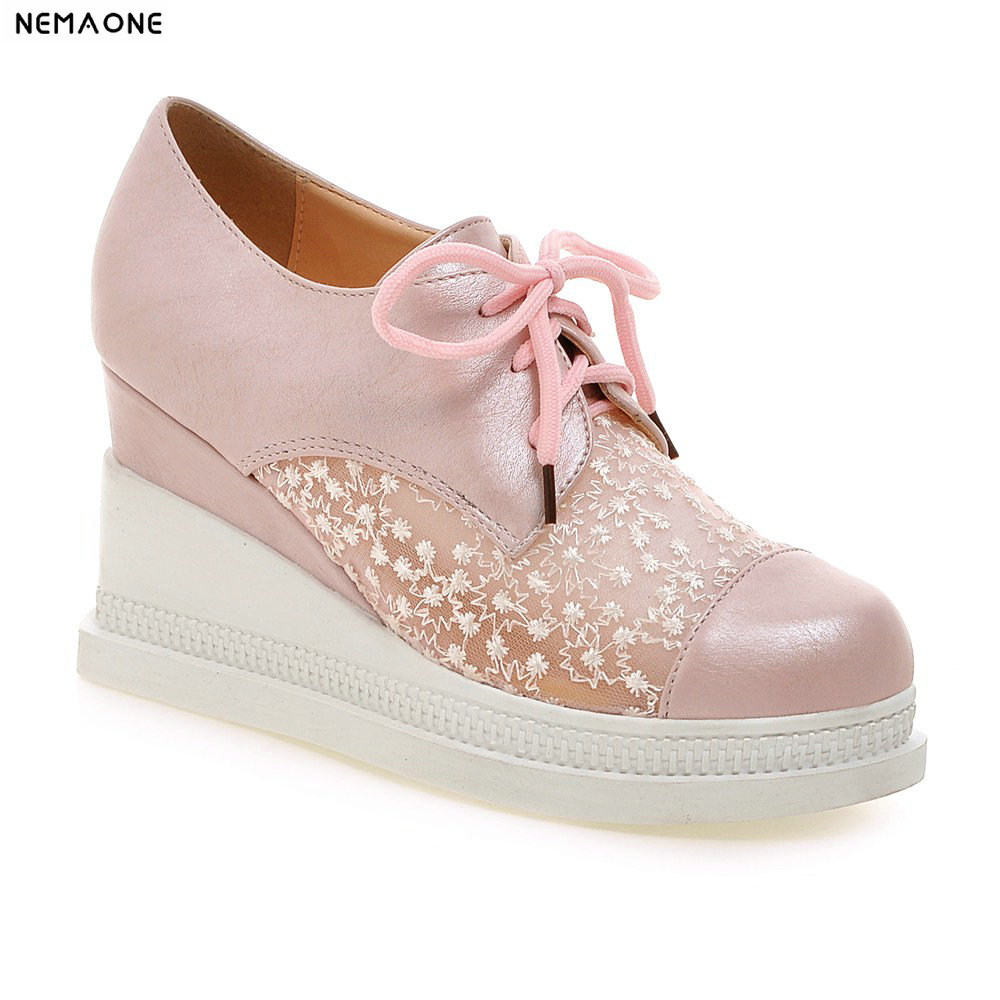 2019 new fashion spring autumn high wedges Heel shoes rouned toe platform lace up Women shoes pink beige blue white black new spring autumn women shoes pointed toe high quality brand fashion ol dress womens flats ladies shoes black blue pink gray