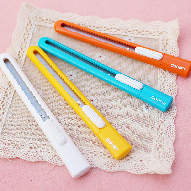 Deli 2025 Small Utility Knife Candy Color Portable Cutter Cutting Small Mini Utility Knife