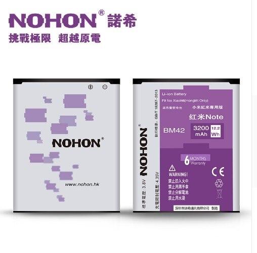Original NOHON Brand <font><b>Battery</b></font> <font><b>BM42</b></font> 1 High Capacity 3200mAh For Xiaomi Redmi Hongmi Red Rice Note