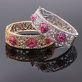 Exquisite Jewelry Flower Natural Red & Green Zircon AAA Cubic Zirconia Gold Filled Cuff Bracelets Bangles For Women