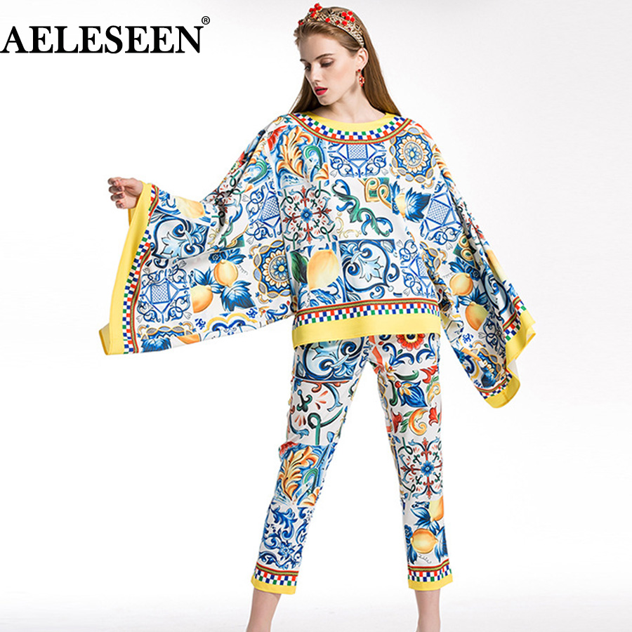 AELESEEN Fashion Runway 2 Piece Set 2018 Porcelain Print Twinset Bow Batwing Sleeve Blusa Top + Calf-Length Pencil Pants Suit