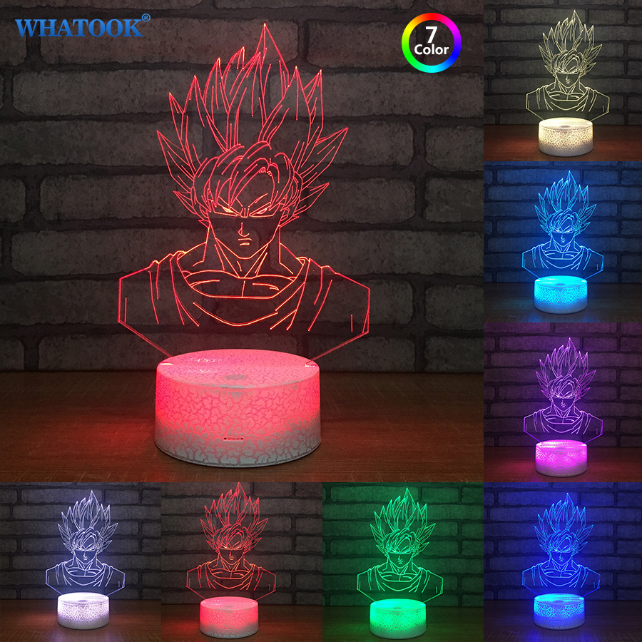 New Seven Dragon Ball Vision 3D Lamp Light Stereo LED Lamp Crack Base Colorful Gradient Acrylic Lamp Night Light baby Gifts