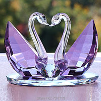 Crystal Swan Purple Lovers Figurine Mineral Quartz Handicraft Ornament Embellishment for Home Decoration and Souvenir Present