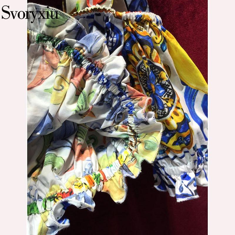 Tops Jupe Pièces Piste Peint De Femmes Poterie Fronde Imprimé Ensemble Costume Multi Coton Jupes Svoryxiu D'été Courtes Volants Arc Deux gR1q4x