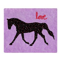 Horse Love And Hearts Soft Fleece Throw Blanket Air/Sofa/Bedding Soft Winter Bedsheet