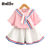 Halilo Boutique Kids Clothing Summer Style Girls Clothing Set Short Sleeve Tops Skirt 2pcs Pink Striped