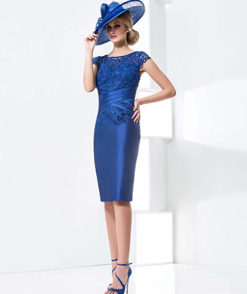 2015 New Arrive Blue Lace Flower short Mother of the bride/Goom dress Party Gown Formal Prom Evening Gowns With Jacket Custom