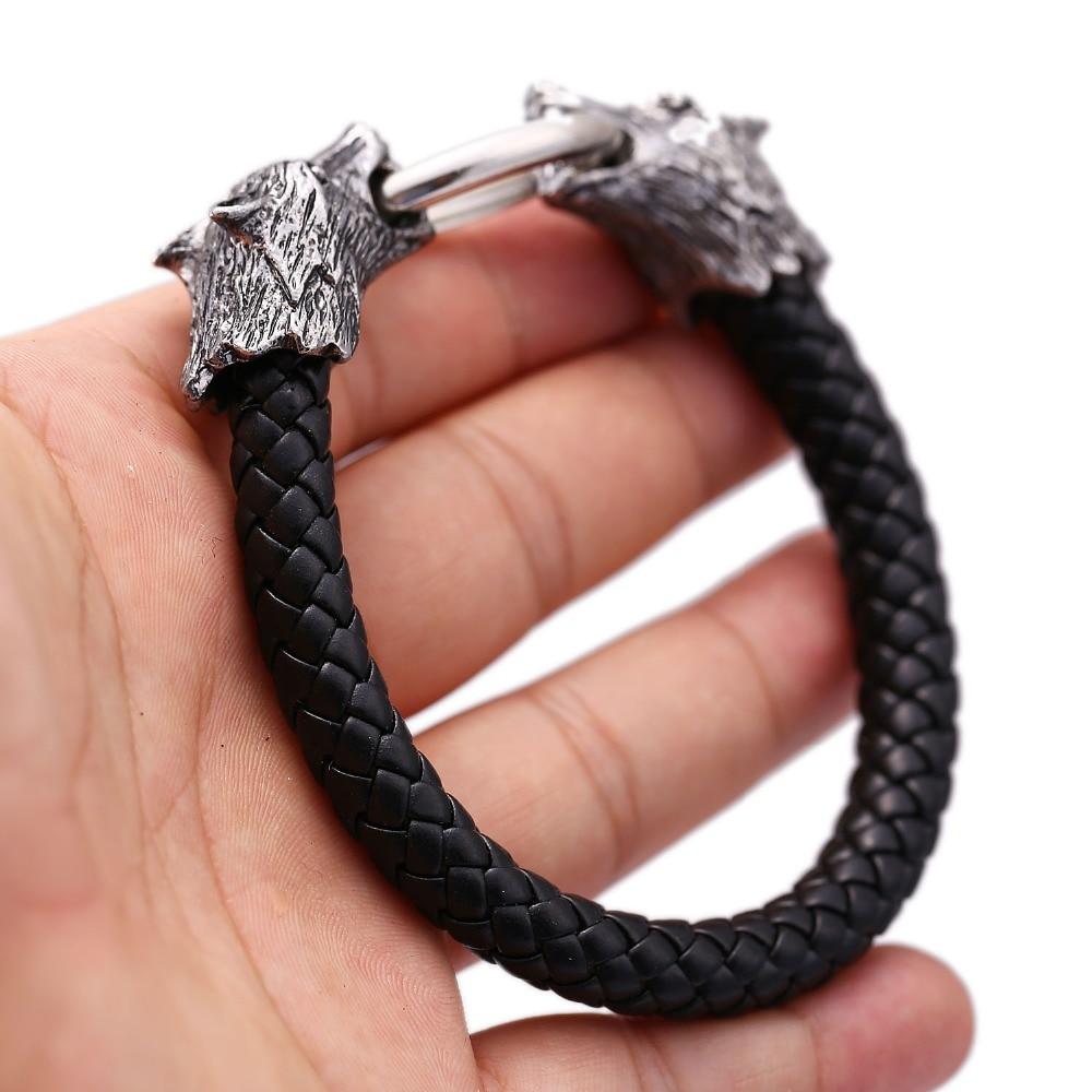 10pcs/lot Fashion Jewelry wolf Men Bracelets Genuine Leather Retro silver color Bracelet Man Gifts Vintage Creative accessories