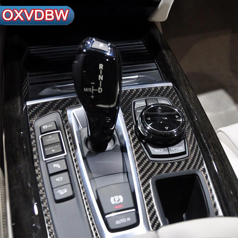 Pour bmw f15 f16 accessoires En Fiber De Carbone Autocollants Décoratifs À L'intérieur de la voiture de Contrôle de Changement de Vitesse Panneau x5 x6 2014 -2017