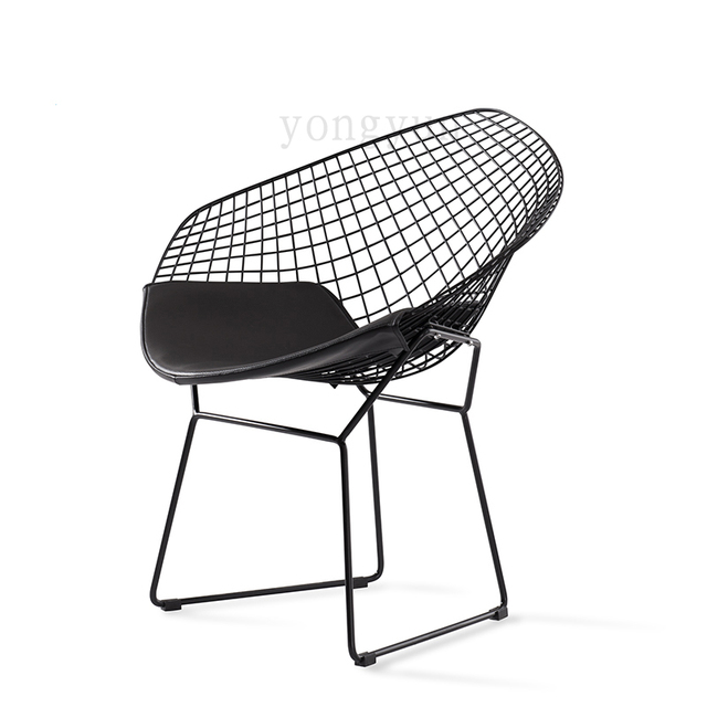 steel net chair posture pillow minimalist modern leisure diamond wire cushion powder coated