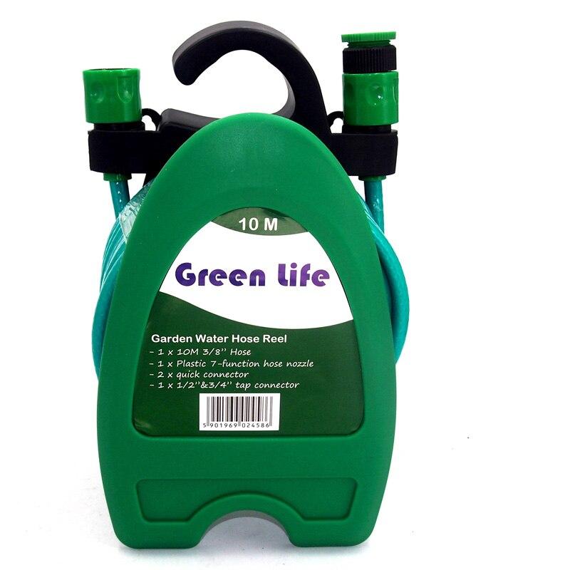 10 M Wasser Rohr 32FT Mini Tragbare Wasser Schlauch Reel Garten Bewässerung Auto Waschen Schlauch Rohr Lagerung Halter Kit