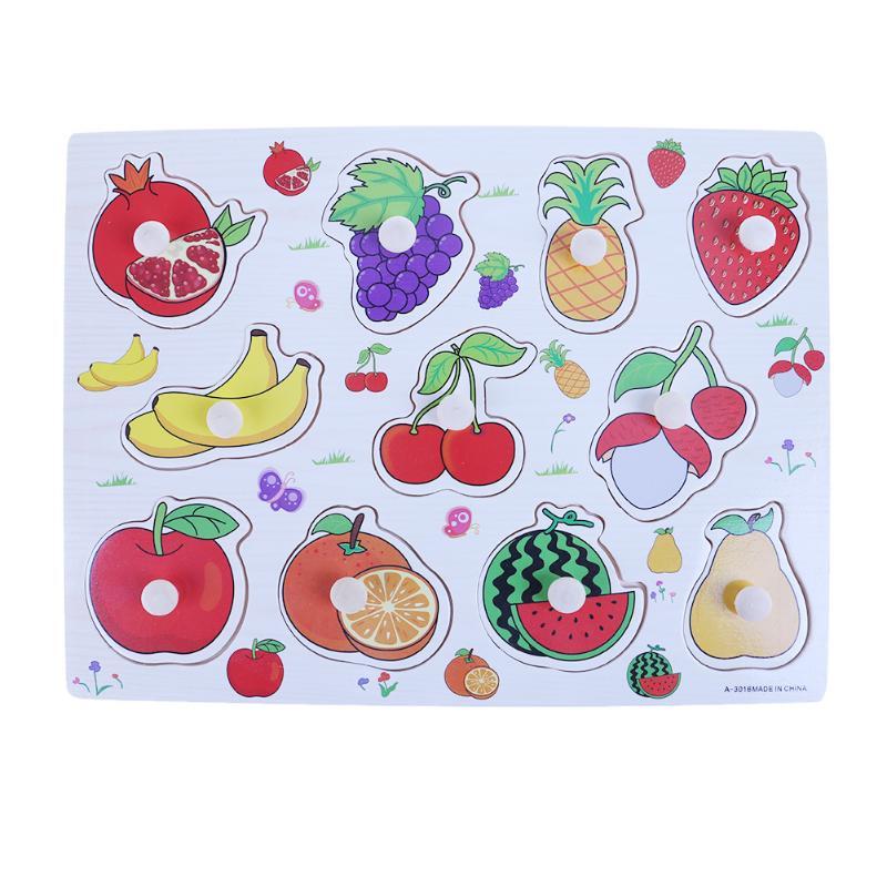 Деревянный Игрушки для маленьких детей фрукты обучения познавательная игрушка-головоломка Дети раннего образования Игрушечные лошадки Де...
