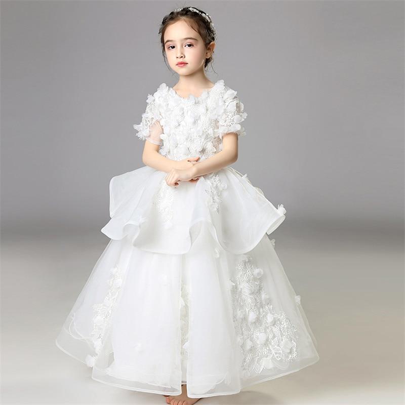 8fb21f57a2b Children Girls Elegant White Princess Flowers Lace Prom Birthday Wedding  Party Long Dress Model Show Kids