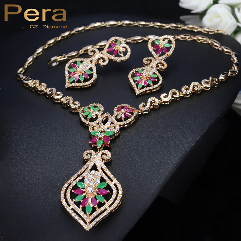Pera CZ Africa Women Wedding Yellow Gold Color Green And Red Crystal Stone Big Pendant Drop Necklace Jewelry Set For Brides J072 pera newest big vintage hollow out design yellow cubic zircon round drop pendant necklace and earrings set for luxury women j199