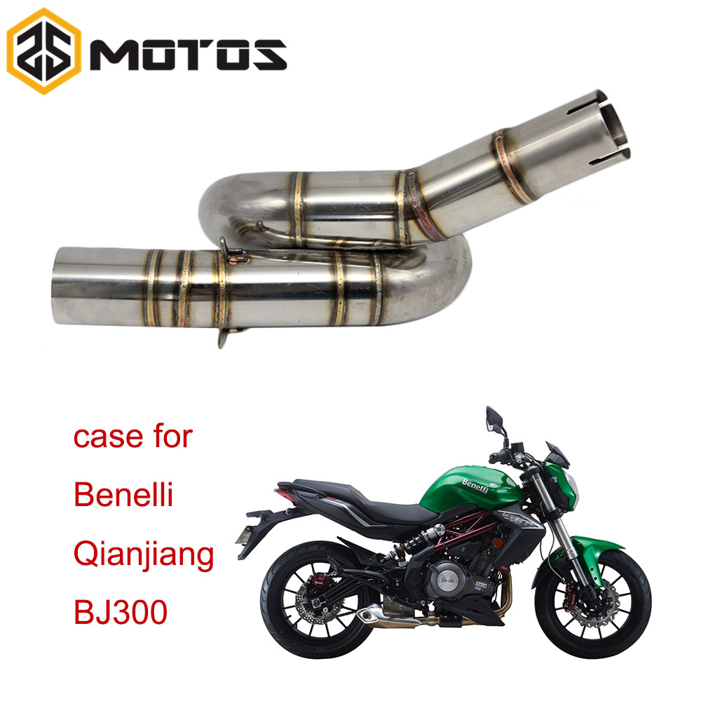 ZS MOTOS moto pour Benelli BJ300GS silencieux d'échappement tuyau moyen moto 51mm silencieux d'échappement tuyau intermédiaire évasion