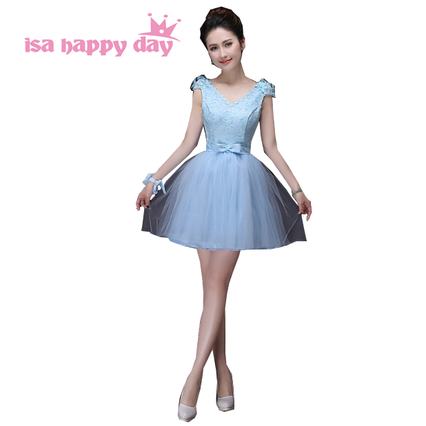 2019 elegant summer short light blue sleeveless embellished evening dress womans tulle ball dresses formal dresses H3384