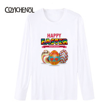 Easter Bunny theme Printed tshirt women long sleeves modal T-shirt homme funny design easter eggs printed tops COYICHENOL