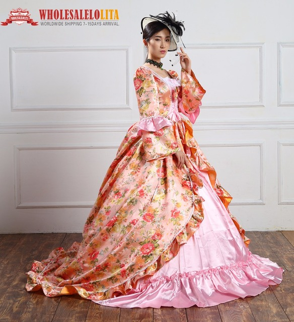 High Quality Holiday Marie Antoinette Dress Period Long Train