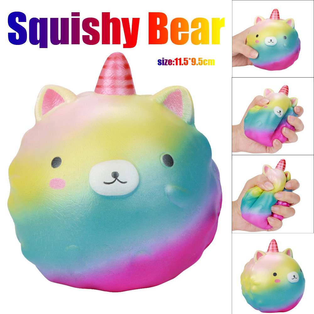 Kid Fun Toy Gift Anti-stress Boy Girl Adult Horns Bear Squishy Decor Slow Rising Kid Toy Squeeze Jumbo Kawaii Gift