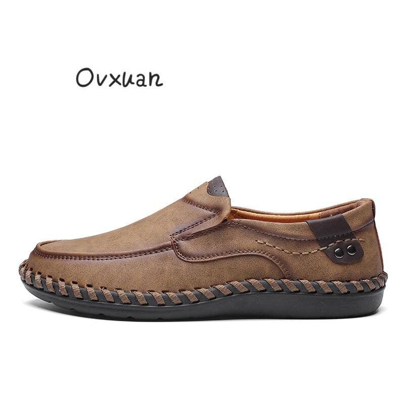 46 Sapatos Preto Homens cáqui Tamanho Para marrom Hombre Plataforma Confortáveis Marrom Zapatillas De Escuro Handmade Couro Vestido Dos Ovxuan Oxford Ocasional TwqaCa