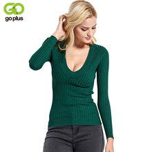 2019 New Spring Deep V Forest Green Pullovers Woman Stretch Knitted Sweater Women Elastic All Match Size Jumper Basic Tops C3554(China)