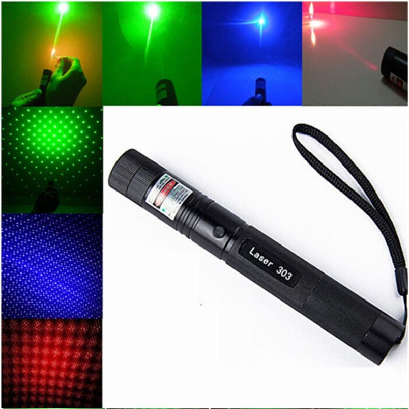 CWLASER 2-en-1 532nm/650nm/405nm Focalisables Vert/Rouge/Violet Pointeur Laser (303) avec Serrure + Match-Éclairage (Noir)