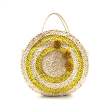 ФОТО beach bag round straw totes bag summer straw bags tassels pom pom women natural handbag yellow striped circular shoulder bag